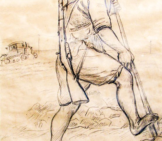 "Dương Hướng Minh, 1966, entitled: ""Breaking the edge of the field 1/1966."" Graphite pencil on machine-made paper; artist inscriptions written in ink. ""Dương Hướng Minh, Respectfully given to Mr. Ambassador of Italy 20-3-1989."""